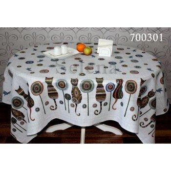 Хлопковая скатерть на стол с вышивкой Кошки, Украина