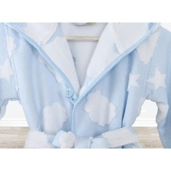Детский махровый халат для мальчика с капюшоном Cloud голубой фото 1
