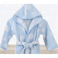 Детский махровый халат для мальчика с капюшоном Cloud голубой