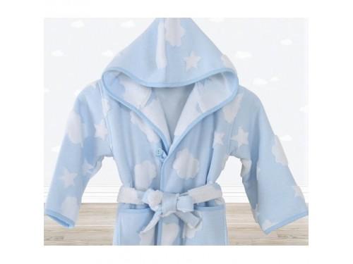 Детский махровый халат для мальчика с капюшоном Cloud голубой 11114175022243 от IRYA в интернет-магазине PannaTeks