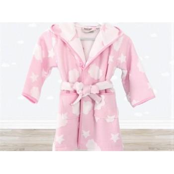 Детский махровый халат для девочки с капюшоном Cloud розовый фото 1