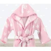 Детский махровый халат для девочки с капюшоном Cloud розовый