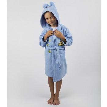 Детский махровый халат с капюшоном и ушками Teddy Bear голубой