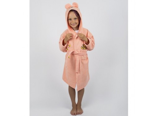 Детский махровый халат с капюшоном и ушками Teddy Bear персик 2000022181235 от Lotus в интернет-магазине PannaTeks