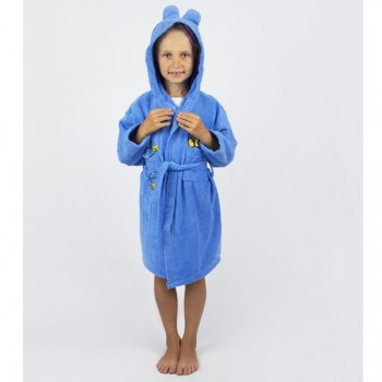 Детский махровый халат с капюшоном и ушками Teddy Bear синий