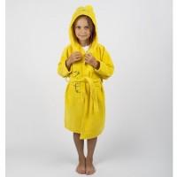 Детский махровый халат с капюшоном и ушками Teddy Bear желтый