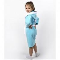 Детский махровый халат с капюшоном и ушками Зайка бирюзовый