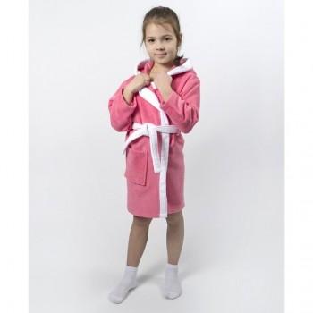Детский махровый халат для девочки с капюшоном и ушками Зайка коралловый фото 4