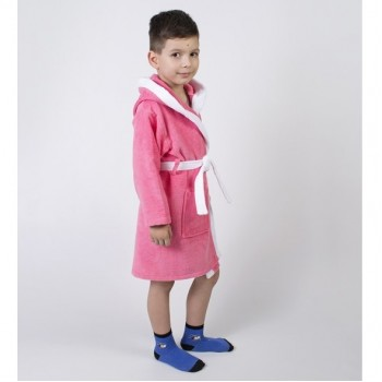 Детский махровый халат для девочки с капюшоном и ушками Зайка коралловый фото 1