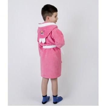 Детский махровый халат для девочки с капюшоном и ушками Зайка коралловый фото 2