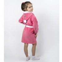 Детский махровый халат для девочки с капюшоном и ушками Зайка коралловый