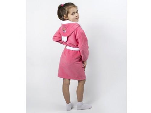 Детский махровый халат для девочки с капюшоном и ушками Зайка коралловый 2000022202985 от Lotus в интернет-магазине PannaTeks