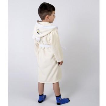 Детский махровый халат с капюшоном и ушками Зайка крем фото 1