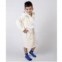 Детский махровый халат с капюшоном и ушками Зайка крем