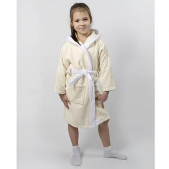 Детский махровый халат с капюшоном и ушками Зайка крем фото 3