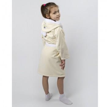 Детский махровый халат с капюшоном и ушками Зайка крем фото 2