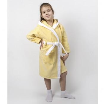 Детский махровый халат с капюшоном и ушками Зайка желтый фото 3