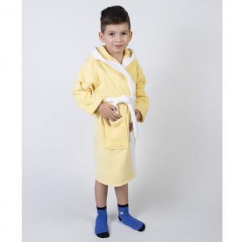 Детский махровый халат с капюшоном и ушками Зайка желтый фото 1