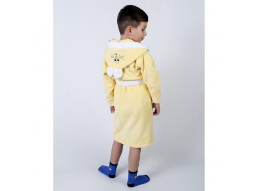 Детский махровый халат с капюшоном и ушками Зайка желтый 2000022203029 от Lotus в интернет-магазине PannaTeks