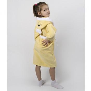 Детский махровый халат с капюшоном и ушками Зайка желтый фото 2