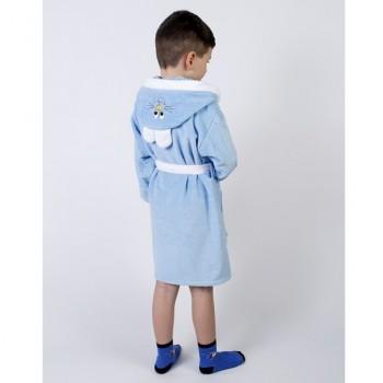 Детский махровый халат для мальчика с капюшоном и ушками Зайка голубой фото 1
