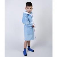 Детский махровый халат для мальчика с капюшоном и ушками Зайка голубой