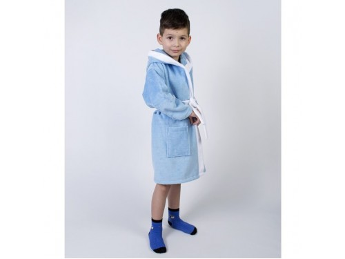 Детский махровый халат для мальчика с капюшоном и ушками Зайка голубой 2000022203005 от Lotus в интернет-магазине PannaTeks