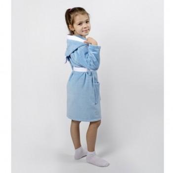 Детский махровый халат для мальчика с капюшоном и ушками Зайка голубой фото 2