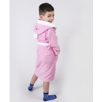 Детский махровый халат для девочки с капюшоном и ушками Зайка розовый фото 4