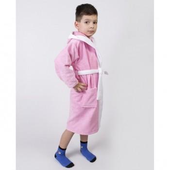 Детский махровый халат для девочки с капюшоном и ушками Зайка розовый фото 2