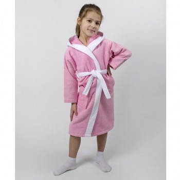 Детский махровый халат для девочки с капюшоном и ушками Зайка розовый фото 1