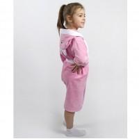 Детский махровый халат для девочки с капюшоном и ушками Зайка розовый