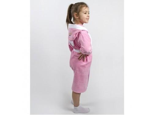 Детский махровый халат для девочки с капюшоном и ушками Зайка розовый 2000022203012 от Lotus в интернет-магазине PannaTeks