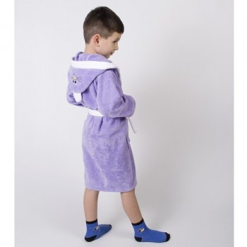 Детский махровый халат с капюшоном и ушками Зайка сиреневый фото 1