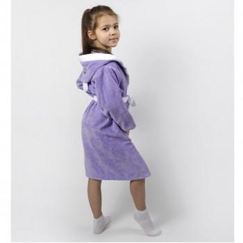Детский махровый халат с капюшоном и ушками Зайка сиреневый фото 2