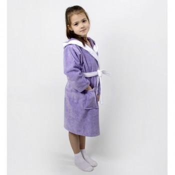 Детский махровый халат с капюшоном и ушками Зайка сиреневый фото 3