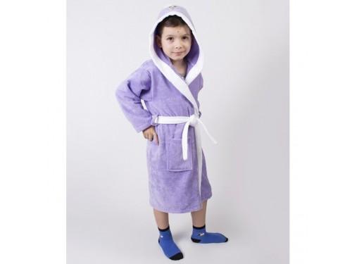 Детский махровый халат с капюшоном и ушками Зайка сиреневый 2000022202992 от Lotus в интернет-магазине PannaTeks