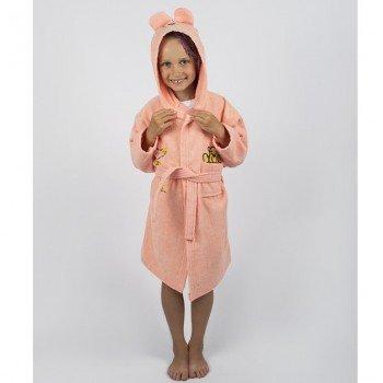 Детский махровый халат с капюшоном и ушками Teddy Bear персик