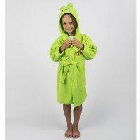 Детский махровый халат с капюшоном и ушками Teddy Bear салатовый