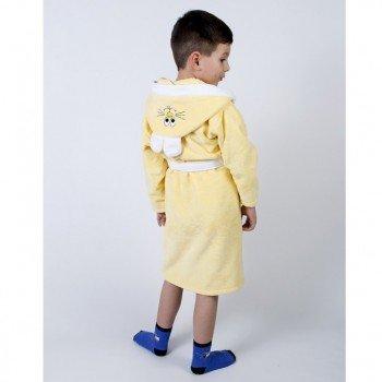 Детский махровый халат с капюшоном и ушками Зайка желтый