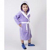 Детский махровый халат с капюшоном и ушками Зайка сиреневый