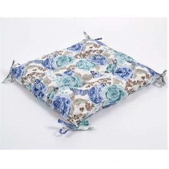 Подушка на стул, табурет с завязками Lotus Dora бирюзовая, 45х45