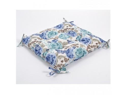 Подушка на стул, табурет с завязками Lotus Dora бирюзовая, 45х45, квадртаная 22251815 от Lotus в интернет-магазине PannaTeks