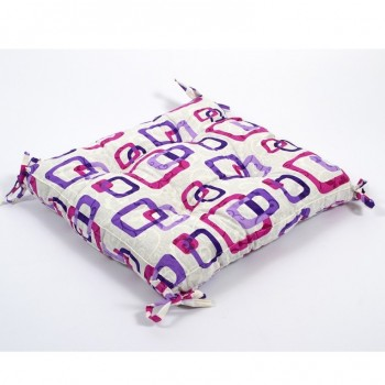 Подушка на стул с завязками Lotus Delta лиловая