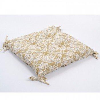 Подушка на стул, табурет с завязками Lotus Crown бежевая, 45х45
