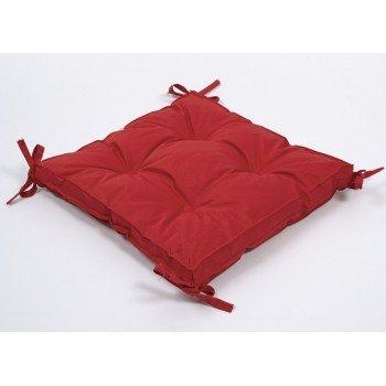 Подушка на стул, табурет с завязками Lotus Optima красная, 40х40