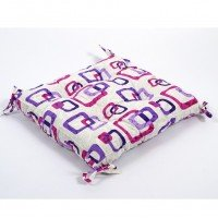 Подушка на стул, табурет с завязками Lotus Delta лиловая, 45х45