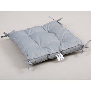 Подушка на стул, табурет с завязками Lotus Optima серая, 40х40