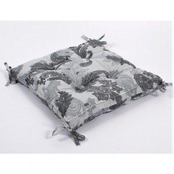 Подушка на стул, табурет с завязками Lotus Great серая, 45х45