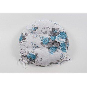 Круглая подушка на стул, табурет с завязками Lotus Doris бирюзовая